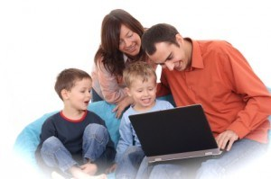family around computer